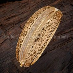 Designer net design zircon kada studded with synthetic zircon stones and plated with gold polish Gold Ring Designs, Gold Bangles Design, Gold Jewellery Design, Gold Jewelry Simple, Stylish Jewelry, Fashion Jewelry, Gold Armband, Jewelry Trends, Gold Polish