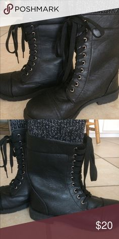 Black Women's Lace up Boots with Knit Top Lace up boots with knit top. Worn twice . No scuffs or marks Shoes Combat & Moto Boots