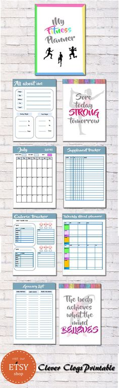 NEW easy to use fitness planner with all the essential printable pages needed to effectively organize your fitness schedule (with a full 2016-2017 calendar to track your progress and achievements).