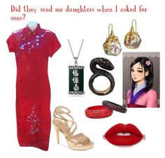 """Mulan"" by mercy123 ❤ liked on Polyvore featuring Chinese Laundry, Bling Jewelry, Nisan, Lilly Fitzgerald and Disney"