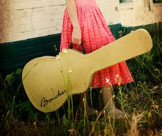 Traveling Girl with a guitar in a pink dress. $25.00, via Etsy.