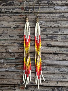 Shouder Duster Earrings, Long Fringe, Seed Beads, Native American Earrings, Boho Style Earrings, Tribal Style Earrings
