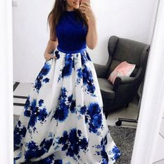Fashion A-Line Jewel Blue Floral Long Prom Dress with Pockets Prom Dresses A-Line, Prom Dresses Blue, Prom Dresses Long, Prom Dresses Prom Dresses Long Prom Dresses With Pockets, Prom Dresses Two Piece, A Line Prom Dresses, Cute Dresses, Evening Dresses, Formal Dresses, Dress Long, Formal Prom, Dress Prom