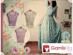 Gamis Floral Jersey, gamis terbuat dari material jersey import dengan kualitas baik yang nyaman dikenakan, model tangan buntung dengan motif bunga-bunga kecil pada seluruh busana, pada pinggang ada karet.