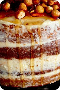 Triple Caramel #Cake recipe with Caramel Sauce Infused #Buttercream Frosting and Hazelnut #Praline Topping. Good Glory.