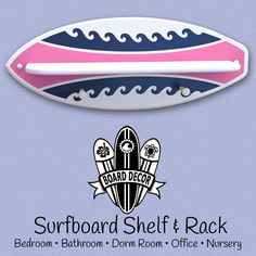 Hey Surfer Girls! Check out this surfboard shelf & surfboard rack with wave stripe design is sure to add a wave of color to your surf theme bedroom, nursery or beach bathroom. This surfboard wall decoration & accessory is 2 products built into one, it's a Surfboard Shelf and Surfboard Rack. The shelf is great for displaying your favorite knick-knacks and...