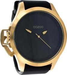Oozoo Steel XXL Gold Black Rubber Strap OS293