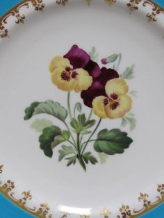 Four Minton Floral Porcelain Cabinet Plates from thesteffencollection on Ruby Lane