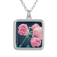 Vintage Pink Rose Flower Floral Silver Plated Necklace  $23.20  by LittleLittleDesign  - custom gift idea