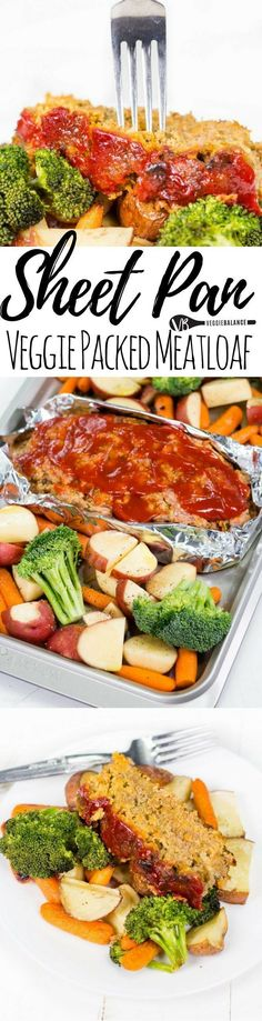 How to Make Meatloaf on a Sheet Pan surrounded with potatoes, carrots and broccoli. the best meatloaf recipe is packed with a healthy helping of veggies. #glutenfree #sheetpan #onepanmeals #healthy #dinner #recipes #healthymeatloafrecipesveggies
