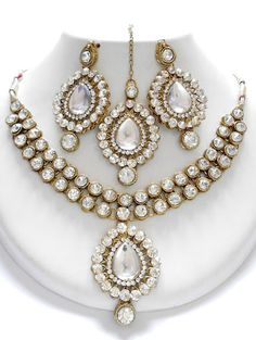 Kundan and American Diamonds Clear Stones Necklace Set with Earrings