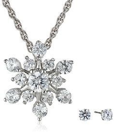 Sterling Silver Cubic Zirconia Snowflake Pendant Necklace and Earrings Set Amazon Curated Collection http://www.amazon.com/dp/B00EDCGPVY/ref=cm_sw_r_pi_dp_N9enub0ME3K1Z