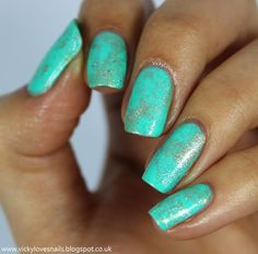 Vicky Loves Nails: Teal, Gold and Silver Waterspotted Nail Art