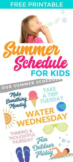 Free Printable: Summer Schedule for Kids Planner Set Snag a free printable summer schedule for kids to help you plan for ultimate fun, with just enough structure to keep your sanity in place. Printable Summer Schedule for Kids (and Moms! Summer Planner, Kids Planner, Summer Schedule, Kids Schedule, Summer Activities For Kids, Summer Kids, Family Activities, Preschool Activities, Before Baby