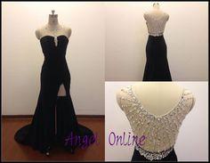 side split prom dress.black prom dress.sexy por Angelonlinedress