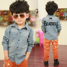 Cutiest Kid Ever. Check that style - Kids & Children Images & Photos Boy Fashion, Spring Fashion, Style Fashion, Embroidery On Clothes, Denim Shirt Men, Printed Denim, Boys Wear, Cheap Shirts, Children Images