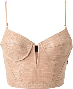 Alexander Wang Pink Crocodile Embossed Leather Bustier