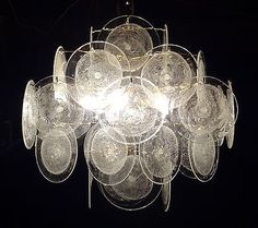 VISTOSI murano glass disc chandelier retro vintage design | Antiques, Periods & Styles, Mid-Century Modernism | eBay!