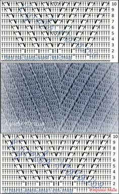 Bobbled Stitches to Crochet Knitting Stiches, Crochet Stitches Patterns, Stitch Patterns, Knitting Patterns, Crochet Doily Rug, Crochet Cable, Tunisian Crochet, Crochet Diagram, Crochet Chart