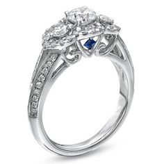 Vera Wang LOVE Collection 1.20 CT. T.W. Diamond Three Stone Split Shank Engagement Ring in 14K White Gold