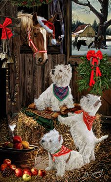 """New for 2014! West Highland Terrier Christmas Holiday Cards are 8 1/2"""" x 5 1/2"""" and come in packages of 12 cards. One design per package. All designs include envelopes, your personal message, and choice of greeting.Select the inside greeting of your choice from the menu below.Add your custom personal message to the Comments box during checkout."""