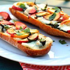Peach, basil and brie cheese, French bread pizza- DELISH!!  http://www.ambitiouskitchen.com/2012/06/peach-basil-and-brie-french-bread-pizzas/