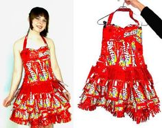 Cool! Skittles Wrapper Dress 15 hours and 101 Skittle wrappers after, Craftster user Theperilouspopsicle finished her Prom dress made entirely out of this candy wrappers.