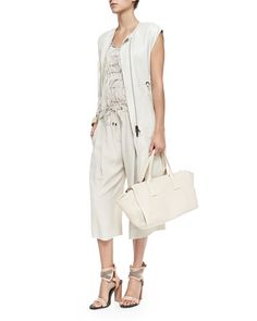 Brunello Cucinelli Long Velour/Shearling Vest, Sleeveless Ostrich Feather Blouse & Pleated Silk Crepe Culottes