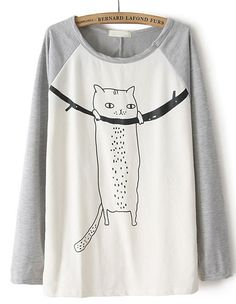 I dont know - which color are the Best????  Grey Contrast Long Sleeve Cat Print T-Shirt zł70.52