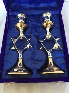 Shabbat Candlesticks Star of David Silver and Gold Plated in Box