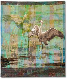 """Pirouette 4, 49 x 41"""", art quilt by Karin Franzen.  Visions Art Museum.  Discharged, dyed, silk screened, painted with fabric paints, oil pastels, raw edge appliqued, and machine quilted."""