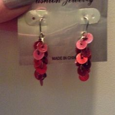 Red sequin dangle earrings $1 shipping through paypal. Earring holder only used to display earrings. ❌ no trades Jewelry Earrings
