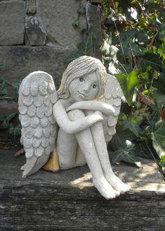 Ceramic Angels, Clay Faces, Fairy Dolls, Flower Tutorial, Handmade Flowers, Garden Sculpture, Sculptures, Pottery, Ceramics