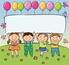 Summer children hold blank banner vector image on VectorStock Class Decoration, School Decorations, School Border, Kids Background, School Frame, School Labels, School Clipart, Child Day, Summer Kids