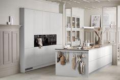 Arkitekt plus beige Beige Kitchen, Grey Kitchens, New Kitchen, Home Kitchens, Kitchen Dining, Farmhouse Kitchen Cabinets, Oak Cabinets, Scandinavian Kitchen, Modern Kitchen Design
