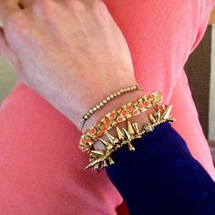 Coral jeans and Stella & Dot arm party. Get it at www.stelladot.com/GabbyGrace