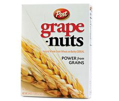Grape Nuts is made up of whole grain wheat flour and barley flour, and delivers more than a quarter of your dietary fiber for the day.