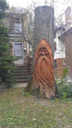 He loves to hide behind trees,  so much like Bigfoot peering thru the leaves~ nice tree carving too!