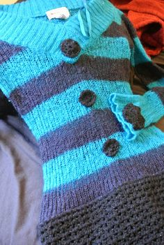a thrift store knit sweater that I've enhanced with crochet
