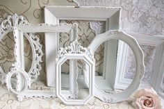 Shabby Chic Frames, White frame Set, Vintage Frames, Ornate Frames, Picture Frames, Wedding Decor,  Wall Display, Home Decor