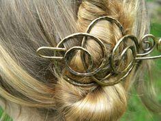 Hair Barrette Hair Slide Gold Hair Accessories by ElizabellaDesign, $25.00
