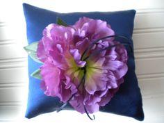 Bright Purple Peony Ring Bearer Pillow on Etsy, $25.00