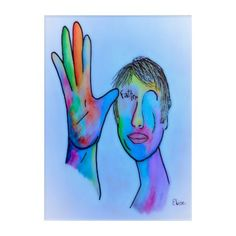 ASL Father in Blue Overtones Acrylic Wall Art - blue gifts style giftidea diy cyo