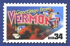 Greetings from Vermont U.S. Stamp, by 9teen87's Postcards, via Flickr