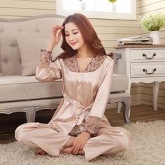 Womens Silk Satin Pajamas Set Pajama Sleepwear Loungewear 5 Colors in  Clothing ed3fc256d3e3