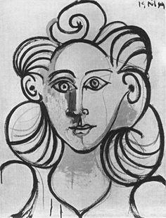 Pablo Picasso (1881–1973)  Portrait de femme (Françoise Gilot)  Pencil on paper, 1944