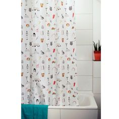 "The funny figures on the shower curtain ""Icons"", which was designed with the…"
