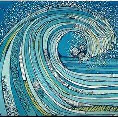Wave Painting Inspiration, Art Inspo, Dibujos Zentangle Art, Zentangles, Deco Surf, Posca Art, Art Sculpture, Wave Art, Surf Art