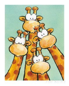 ''Funny Friends Ii'' by Jean Paul Kunst Graphics Art Print Animal Drawings, Cute Drawings, Giraffe Art, Giraffe Drawing, Cartoon Giraffe, Whimsical Art, Funny Art, Nursery Art, Cute Art