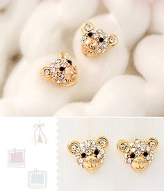 This cute pair of 14k gold-plated stud earrings features delicate crafted little bear's face in sparkling cubic zirconia. Earrings For Teen